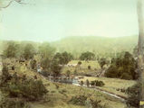 Picture relating to Canungra - titled 'Bullock teams crossing the Canungra Creek'