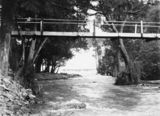 Picture relating to Cotter River - titled 'Cotter River foot bridge below the Cotter dam wall'