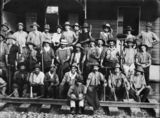 Picture relating to Grandchester - titled 'Railway workers lined up on the tracks of the Grandchester Station'