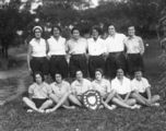Picture relating to Toowoomba - titled 'Netball team posing with the Stuart Shield in Toowoomba, 1932'