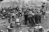 Picture relating to Cooroy - titled 'Woodchopping contest at the Hotel Victory in Cooroy, 1911'