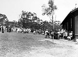 Picture relating to Russell - titled 'Part of crowd and children at the opening of Mount Russell School'