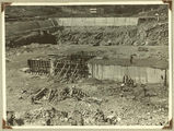 Picture relating to Somerset Dam - titled 'View of the Somerset Dam wall and the floor of the dam prior to inundation'