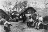Picture relating to Queensland - titled 'Sketch of South Sea Islander labourers in front of grass huts on a Queensland plantation, 1895'
