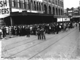 Picture of / about 'Brisbane' Queensland - Crowd gathered for free lunch outside McWhirters' building, Fortitude Valley, Brisbane, 1933