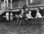 Picture relating to Queensland - titled 'Infant in a stroller and two children sitting in a cart in the front yard of a Queensland home'
