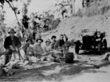 Picture relating to Maroochydore - titled 'Group of men stopped for tea at the side of the road, Maroochydore, Queensland, ca. 1928'