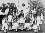 Picture of / about 'Brisbane' Queensland - School students dressed in traditional Greek costume for a concert in Brisbane, ca. 1930