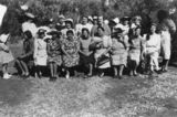 Picture relating to Boulia - titled 'School picnic on the banks of the Bourke River, Boulia, ca. 1942'
