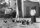 Picture relating to Ipswich - titled 'Feeding the poultry in the backyard at Ipswich, Queensland, 1900-1910'