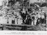Picture of / about 'Gin Gin' Queensland - Founding a new church at Gin Gin. Mr Fanshawe Gostling is laying the foundation block of St. Mary's Church of England
