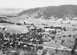 Picture relating to Black Mountain - titled 'Ariel View. Canberra Community Hospital and Acton from the air. Black Mountain in background.'