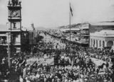 Picture relating to Townsville - titled 'Federation parade in Flinders Street, Townsville, Queensland, 1910'