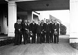 Picture relating to Scullin - titled 'Scullin 16th Ministry, Labor Cabinet at entrance to Government House, Yarralumla for swearing in.'