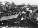 Picture relating to Camp Mountain - titled 'Rescuers inspect the wreckage of the Camp Mountain train disaster, 1947'