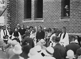 Picture relating to Canberra Grammar School - titled 'Laying the Foundation Stone for the Canberra Church of England Boys Grammar School Flinders Way, Red Hill-Clergy and speakers ( Sir John Butters).'