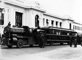 Picture relating to Parliament House - titled 'Metro Goldwyn Mayer Trackless Train outside Old Parliament House'