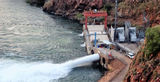 Picture relating to Lake Argyle - titled 'Outlet valves and Power Station Lake Argyle'