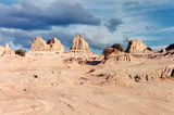 Lake Mungo Erosion forms columns and in some places sculptured wash aways.
