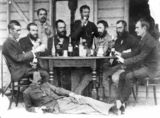 Picture relating to Winton - titled 'Group of gentlemen enjoying a drink at Winton, ca. 1895'