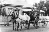 Picture of / about 'Charleville' Queensland - Horsedrawn carriage and driver outside the Commercial Bank of Sydney, Charleville, ca. 1906