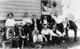 Picture relating to Canungra - titled 'Men outside their accommodation at a timber workers' camp at Canungra, 1915'