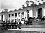 Picture relating to Parliament House - titled 'Armistice Day Ceremony with the Royal Military College Cadets on parade in front of Old Parliament House'