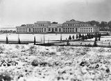 Picture relating to Parliament House - titled 'Front of Old Parliament House under snow .'