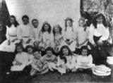 Picture relating to Queensland - titled 'Portrait of a group of children in two rows, 1900-1910'