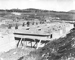 Picture relating to Weston Creek - titled 'Weston Creek sewerage treatment works under construction - Sedimentation and activated sludge tanks'
