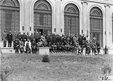 Picture relating to Parkes - titled 'Group Photograph, Forestry Conference delegates at Albert Hall, Commonwealth Avenue, Parkes.'
