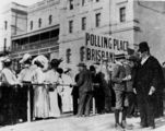 Picture relating to Brisbane - titled 'Voters outside a polling place, Brisbane, Queensland, 1907'