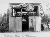 Picture relating to Marmor - titled 'Corrugated iron and chicken wire butcher shop at Marmor in 1908'