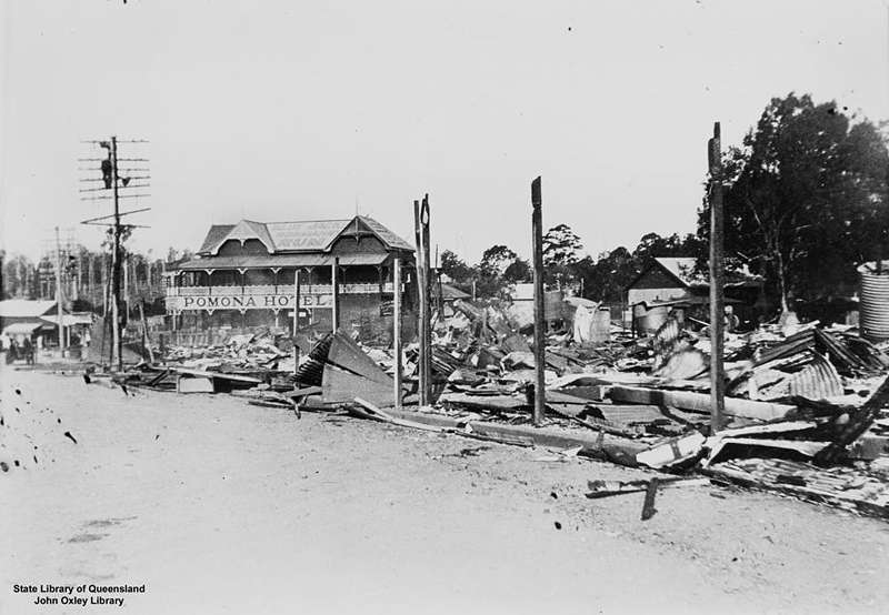 Picture of / about 'Pomona' Queensland - Building destroyed by fire at Pomona, Queensland, 1939