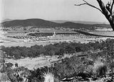 Picture relating to Ainslie - titled 'North end of Braddon from Mt Ainslie. Ainslie Hotel on the left - Haig Park on the right.'