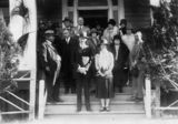 Picture relating to Southport - titled 'Sir John and Lady Goodwin on the steps of the Grand Hotel at Southport, 1927'