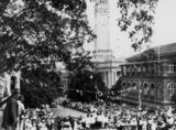 Picture of / about 'Brisbane' Queensland - Crowds gather on Albert Street to welcome the Duke of Gloucester to Brisbane, 1934