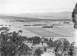 Picture of / about 'Anzac Parade' the Australian Capital Territory - View from Mt Ainslie showing Anzac Parade, St John's Church, Old Parliament House, Hotel Canberra, Commonwealth Bridge and Scotts Crossing.