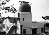 Picture relating to Mount Stromlo Observatory - titled '6 inch Farnham Telescope and Observatory buildings, Mount Stromlo Observatory.'