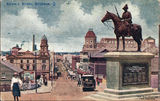 Picture of / about 'Brisbane' Queensland - Colour image of view down Edward Street, Brisbane, past the South African War Memorial, ca. 1920