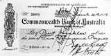 Picture relating to Bruce - titled 'Cheque for 2000 pounds presented to Bert Hinkler, signed by Earle Page, Treasurer and Hon. S. M. Bruce, Prime Minister.'