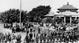 Picture relating to Mackay - titled 'Anzac Day celebrations in Mackay, outside the Commonwealth Bank of Australia, 1920-1930'
