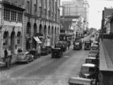 Picture relating to Brisbane - titled 'Traffic congestion on Elizabeth Street, Brisbane, 1939'
