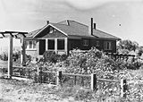 Picture relating to Yarralumla - titled 'Westridge House Home of the Principal of the Australian Forestory School, Mr. C Lanepoole Banks Street, Yarralumla, with well developed gardens.'