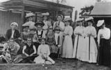Picture relating to Queensland - titled 'Group portrait of tennis and croquet players'