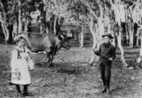 Picture relating to Gatton - titled 'Two children in fancy dress on a farm at Gatton, Queensland, ca. 1900'