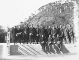 Picture relating to Cotter Dam - titled 'Kiwi Hockey team at the Cotter Dam'