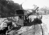 Picture relating to Molonglo River - titled 'Keystone steam shovel with water waggon excavating sand in the bed of the Molonglo River'