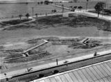 Picture relating to Pinkenba - titled 'Aerial view of the air raid shelter at the Ford factory in Pinkenba, Brisbane, ca. 1942'