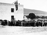 Picture relating to Black Mountain - titled 'General view of official guests and spectators at the opening CSIR Building. Division of Entomology, Clunies Ross Street, Black Mountain.'